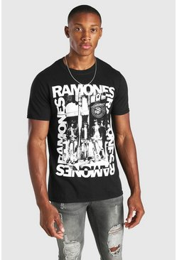 Black Ramones License Print T-Shirt