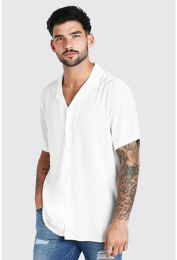 White Short Sleeve Viscose Shirt With Revere Collar