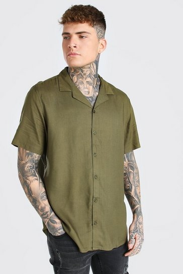 Green Short Sleeve Viscose Shirt With Revere Collar