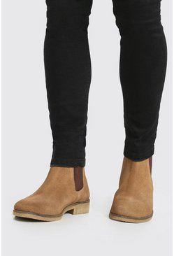 Tan brown Real Suede Chelsea Boot