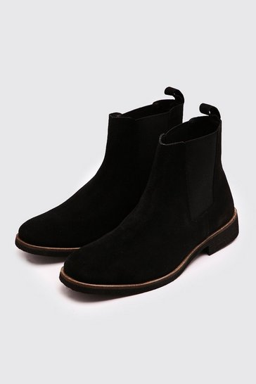 Black Real Suede Chelsea Boot
