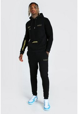 Black Motorbike Printed Hoodie And Jogger Set