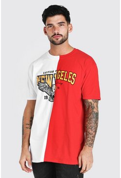 White New York Los Angeles Spliced T-Shirt