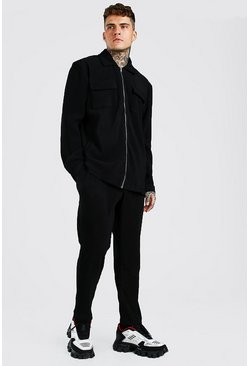 Black MAN Pleated Shirt And Trouser Set