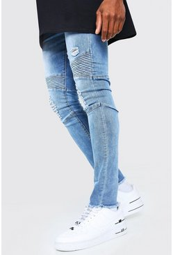 Mid blue blue Super Skinny Ripped Biker Jeans With Zip Detail