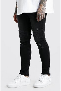 Washed black Super Skinny Ripped Zip Detail Biker Jeans