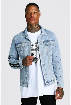 Light blue blue Rip And Repair Denim Jacket With Paint Detail