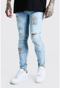 Light blue blue Super Skinny All Over Ripped Bleached Jeans