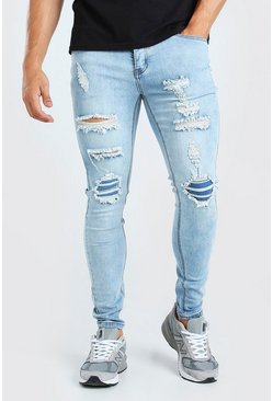 Vintage blue blue Super Skinny Rip And Repair Jeans