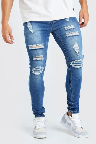 Washed indigo blue Super Skinny Rip And Repair Jeans