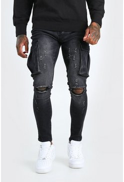 Washed black Super Skinny Cargo Jean With Knee Rips