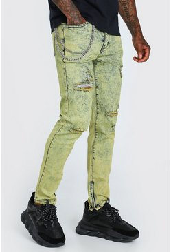 Yellow Skinny Overdyed Jeans With Zip Ankles And Chain