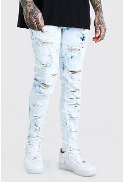 Bleach wash Extreme Bleached All Over Rip Skinny Jeans