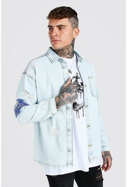 Bleach wash Oversized Bandana Rip And Repair Denim Shirt