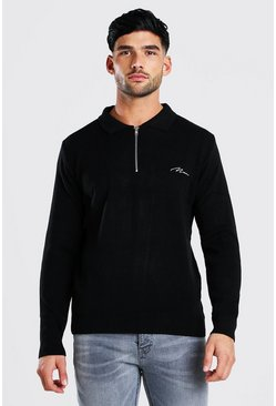 Black MAN Muscle Fit Half Zip Knitted Long Sleeve Polo