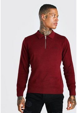 Burgundy red MAN Muscle Fit Half Zip Knitted Long Sleeve Polo