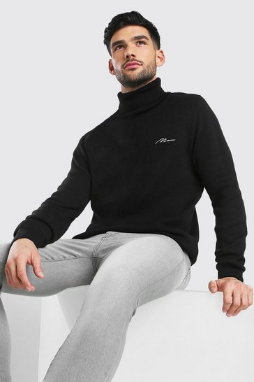 Black MAN Muscle Fit Roll Neck Knitted Jumper