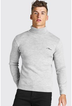 Grey MAN Muscle Fit Roll Neck Knitted Jumper