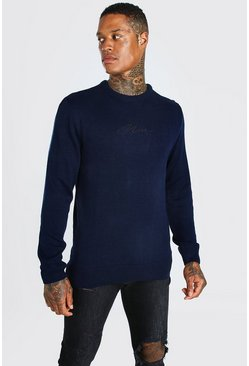Navy Man Crew Neck Knitted Sweater