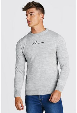 Grey MAN Crew Neck Knitted Jumper