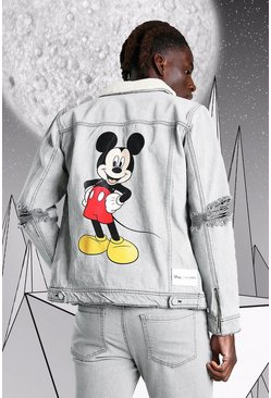 Grey Disney Mickey Denim Jacket With Borg Collar
