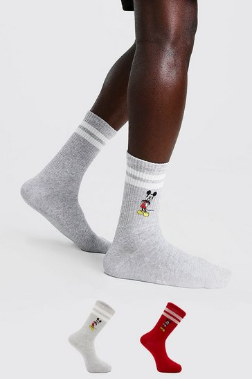 Multi 2 Pack Disney Mickey Embroidered Socks