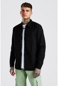 Black MAN Official Branded Zip Overshirt