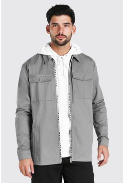 Grey MAN Official Branded Zip Overshirt