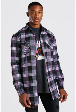 Charcoal grey Longline Distressed Hem Check Shirt