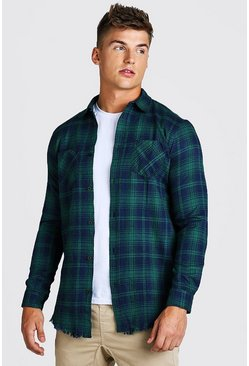 Navy Longline Distressed Hem Check Shirt