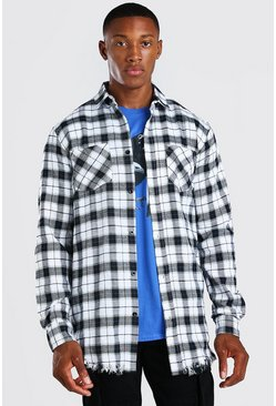 White Longline Distressed Hem Check Shirt