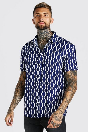 Navy Short Sleeve Oversized Viscose Print Shirt