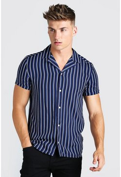Navy Short Sleeve Revere Collar Viscose Stripe Shirt