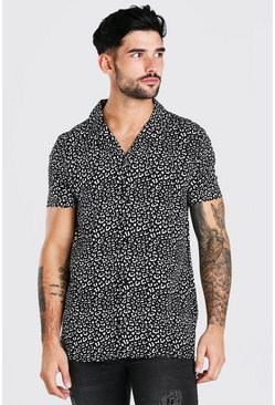 Black Short Sleeve Revere Collar Viscose Print Shirt