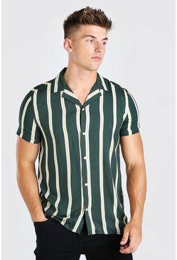 Green Short Sleeve Revere Collar Viscose Stripe Shirt