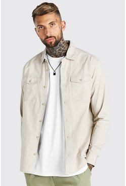 Stone beige Twill Overshirt With Chest Pockets