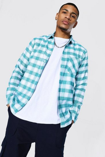 Turquoise blue Regular Fit Check Shirt