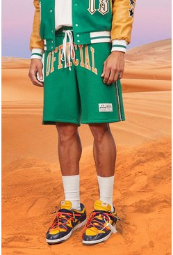 Green Official Basketball Jersey Shorts With Tape