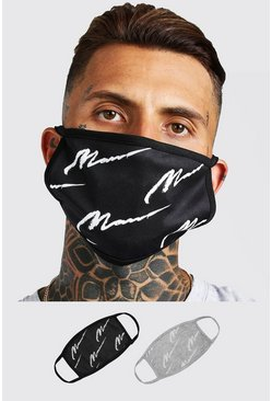 Multi 2 Pack MAN Script All Over Fashion Masks