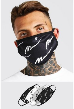 Multi 4 Pack Man Script All Over Fashion Masks