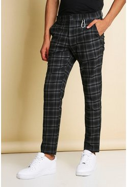 Navy Skinny Windowpane Check Smart Trousers