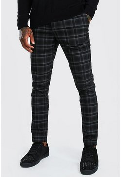 Black Skinny Check Smart Trouser With Carabiner