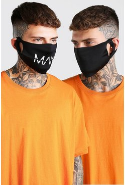 Black 2 Pack MAN Branded Fashion Masks