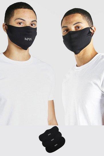 Black 3 Pack MAN Branded Fashion Masks