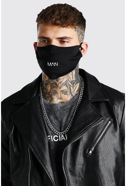 Black 5 Pack MAN Branded Fashion Masks