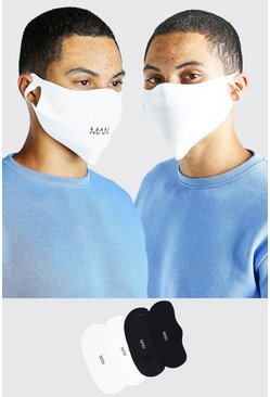 Multi 4 Pack MAN Branded Reversible Fashion Masks