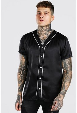 Black Short Sleeve Baseball Collar Satin Shirt