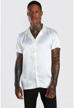 Ecru white Short Sleeve Revere Collar Satin Shirt