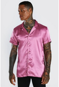 Pink Short Sleeve Revere Collar Satin Shirt