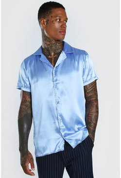 Blue Short Sleeve Revere Collar Satin Shirt